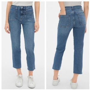 Gap | High Rise Cheeky Straight Crop Raw Hem Jeans